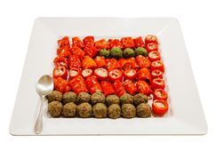 Mixed vegetables. On the white plate, isolated stock photography