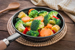 Mixed vegetables in pan Royalty Free Stock Images