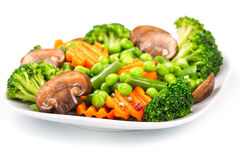 Mixed vegetables on a plate royalty free stock image