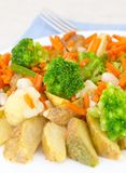 Mixed vegetables on a plate with fork Royalty Free Stock Images