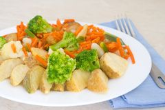 Mixed vegetables on a plate with fork Stock Image