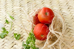 Mixed vegetables and rope. Photograph of some mixed colorful vegetables Stock Image