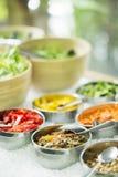 Mixed vegetables in salad bar display Stock Photos