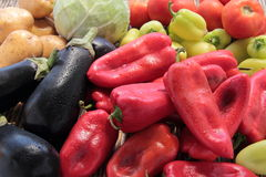 Mixed vegetables tomatoes peppers eggplant Royalty Free Stock Images