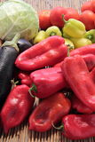 Mixed vegetables tomatoes peppers eggplant Stock Photo