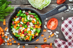 Mixed vegetables in vintage frying pan Stock Photography