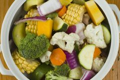 Mixed vegetables in a white bowl Stock Photos