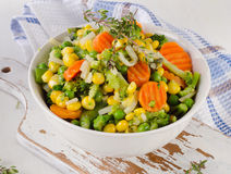 Mixed vegetables in  white bowl. Royalty Free Stock Images
