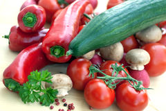 MIXED VEGETABLES WITH RED BELL PEPPER,TOMATO,RADIS Royalty Free Stock Images