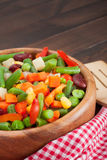 Mixed vegetables in wooden bowl Royalty Free Stock Images