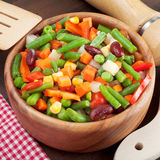 Mixed vegetables in wooden bowl Stock Photography
