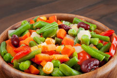 Mixed vegetables in wooden bowl Royalty Free Stock Photos