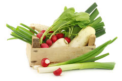 Mixed vegetables in a wooden crate Royalty Free Stock Photography