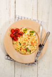 Mixed vegetarian pasta salad with egg and vegetables Royalty Free Stock Images