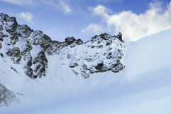 Mixed wall. Mixed ice-rock wall of a mountain pass Stock Image