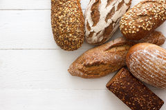 Mixed whole grain health breads Stock Image