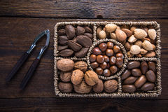 Mixed Whole Nuts In Basket Stock Photography