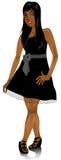 Mixed Woman Black Bow Dress Stock Photo