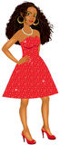Mixed Woman Red Sparkle Dress Stock Image