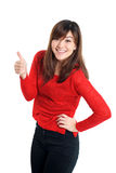 Mixed woman thumbs up in red Stock Photos