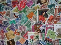 Mixed World Europe stamps background Stock Photo