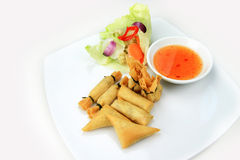 Mixed-wrapped spring rolls Royalty Free Stock Photos