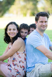 Mixed young family portrait funny sons Stock Image