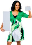 Mixedrace woman showing placards Stock Photography