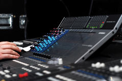 Mixer. Music equipment in sound studio Royalty Free Stock Image