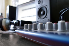 Mixer. On the background of speakers Royalty Free Stock Photography