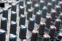 Mixer. Sound mixer control panel, close up Royalty Free Illustration