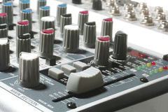 Mixer. Close up mixer for recording sound in studio or in home Royalty Free Stock Image