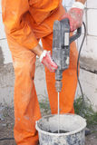 Mixer attachment on a drill Stock Photo