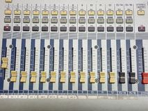 Mixer. Audio amplifier stereo recording sound Royalty Free Stock Photos