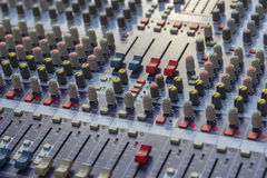 Mixer audio buttons. Controls of sound mixer control panel, mixer audio buttons. Selective focus and shallow dof royalty free stock photography