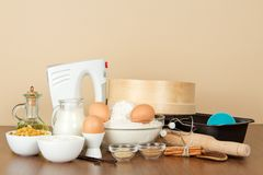 Mixer, baking dish and set of products Stock Image