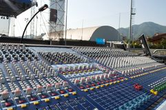 Mixer console. Big mixer console in a concert stage Royalty Free Stock Photo