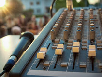 Mixer control and microphone Royalty Free Stock Images