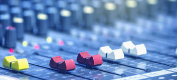 Mixer in the control room.  royalty free stock images