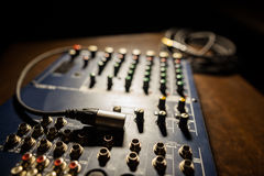 Mixer desk detail Royalty Free Stock Photo