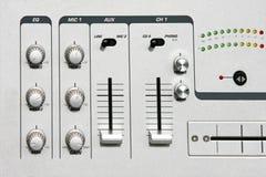 Mixer detail. Detail shot of DJ music sound mixer stock photography