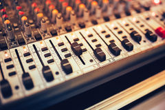 Mixer and digital equalizer at concert or party in the nightclub Royalty Free Stock Images