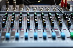 The mixer features. Music sound mixer mixing console Stock Images