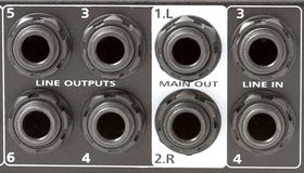 Mixer inputs and outputs Royalty Free Stock Image