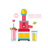 Mixer Juice Fresh fruits and vegetables Kitchen appliance background Stock Photography