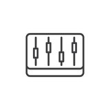 Mixer, levels line icon, outline vector sign. Linear style pictogram isolated on white. Symbol, logo illustration. Editable stroke. Pixel perfect Royalty Free Stock Image