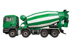 Mixer lorry. Green mixer lorry isolated on white background royalty free stock photos