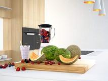Mixer met verschillende vruchten voor een smoothie het 3d teruggeven Stock Afbeeldingen