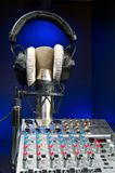 Mixer, Mic and Headphones. Music Production, Audio Mixer and Vocal Mic with headset Royalty Free Stock Image