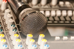 Mixer and a microphone Royalty Free Stock Image